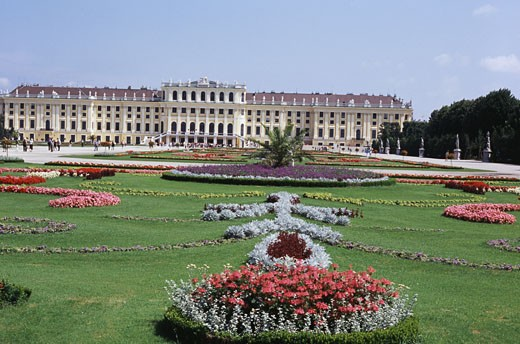 Garden in front of a palace, Schonbrunn Palace, Vienna, Austria : Stock Photo