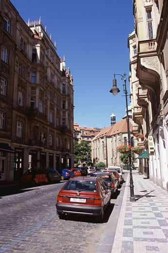Buildings along a street, Old Town Square, Prague, Czech Republic : Stock Photo