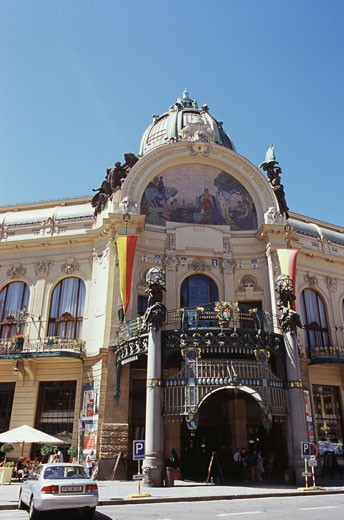Stock Photo: 1495-554 Low angle view of a concert hall, Municipal House, Prague, Czech Republic