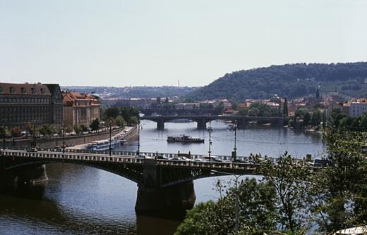 High angle view of bridges over a river, Vltava River, Prague, Czech Republic : Stock Photo