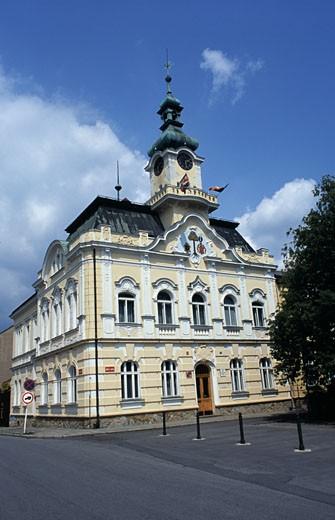 Facade of a town hall, Celakovice, Czech Republic : Stock Photo