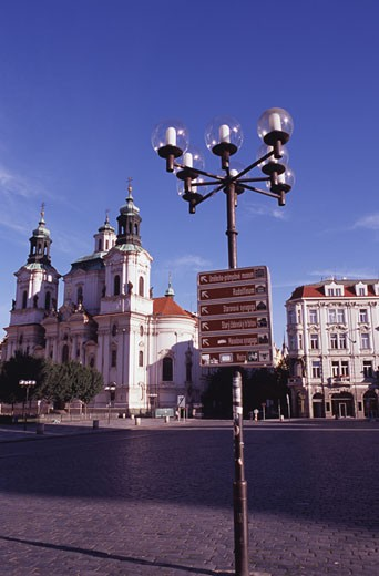 Stock Photo: 1495-578 Street signs on a lamppost, Old Town Square, Prague, Czech Republic