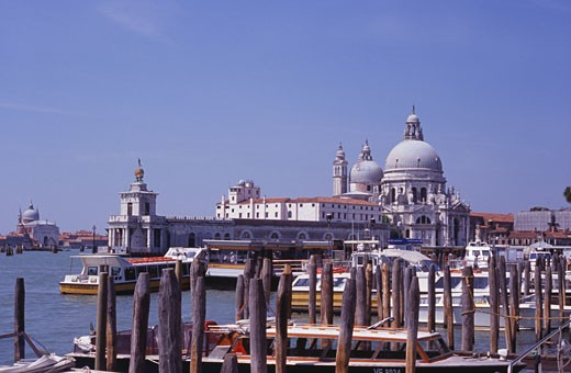 Stock Photo: 1495-592 Basilica on the waterfront, Basilica di Santa Maria della Salute, Grand Canal, Venice, Italy