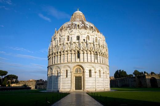Facade of a baptistery, Pisa Baptistery, Piazza Dei Miracoli, Pisa, Tuscany, Italy : Stock Photo