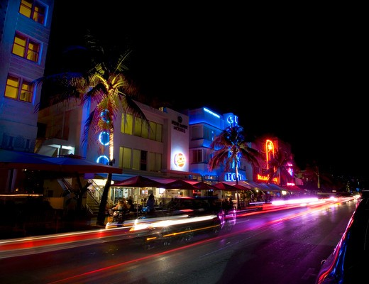Stock Photo: 1495-719 USA, Florida, Miami Beach, South Beach , art deco hotel on Ocean Drive at night