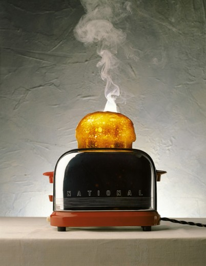 Stock Photo: 1497-211 Bread in an electric toaster