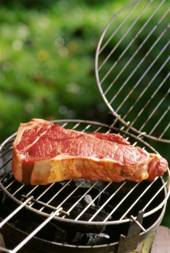 Close-up of a steak on a barbecue grill : Stock Photo
