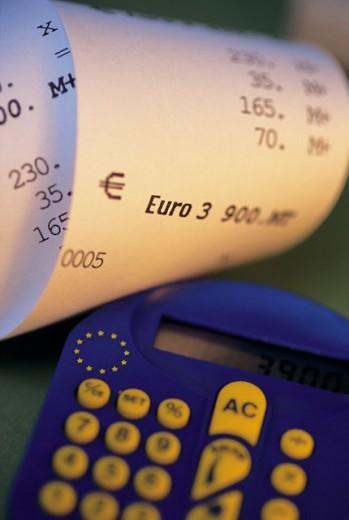 Stock Photo: 1497R-403 Close-up of adding machine tape