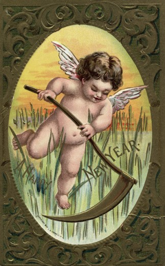 Stock Photo: 1501-138 A Happy New Year (Angel with Sickle)