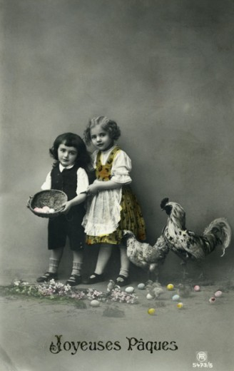 Stock Photo: 1501-152 Joyeuses Paques  1919 Postcard Private Collection