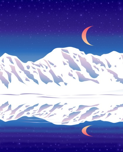 Stock Photo: 1501-211 Mountain Moon