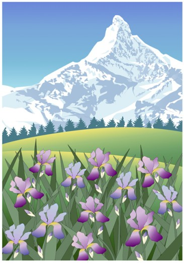 Stock Photo: 1501-236 Iris Mountain 2003 Linda Braucht  (20th C.  American) Computer graphics