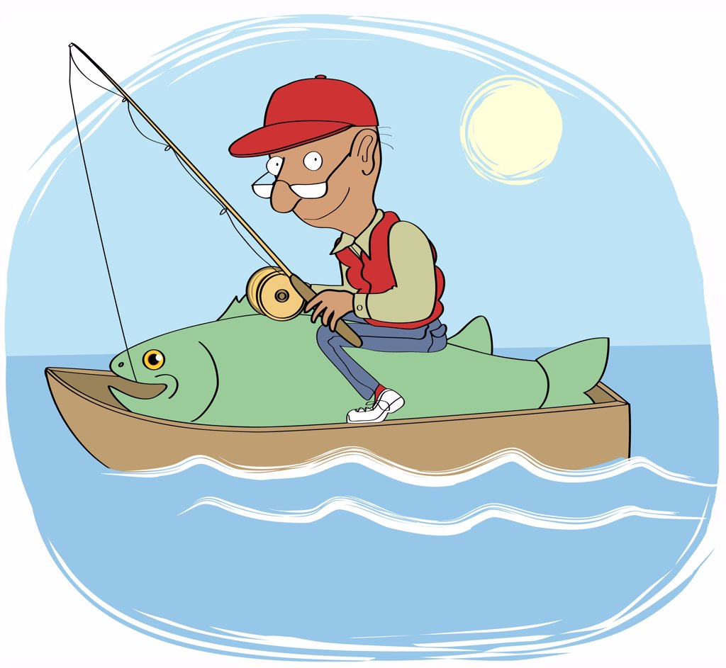 Stock Photo: 1501R-1062 Man with fishing rod in rowing boat sitting on big fish, illustration