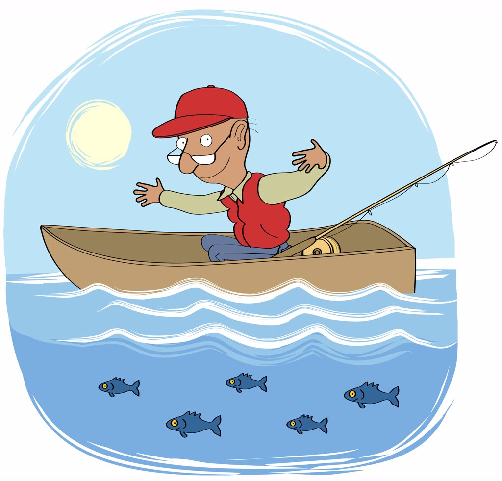 Man in rowing boat showing size of fish (Big fish 2), illustration : Stock Photo
