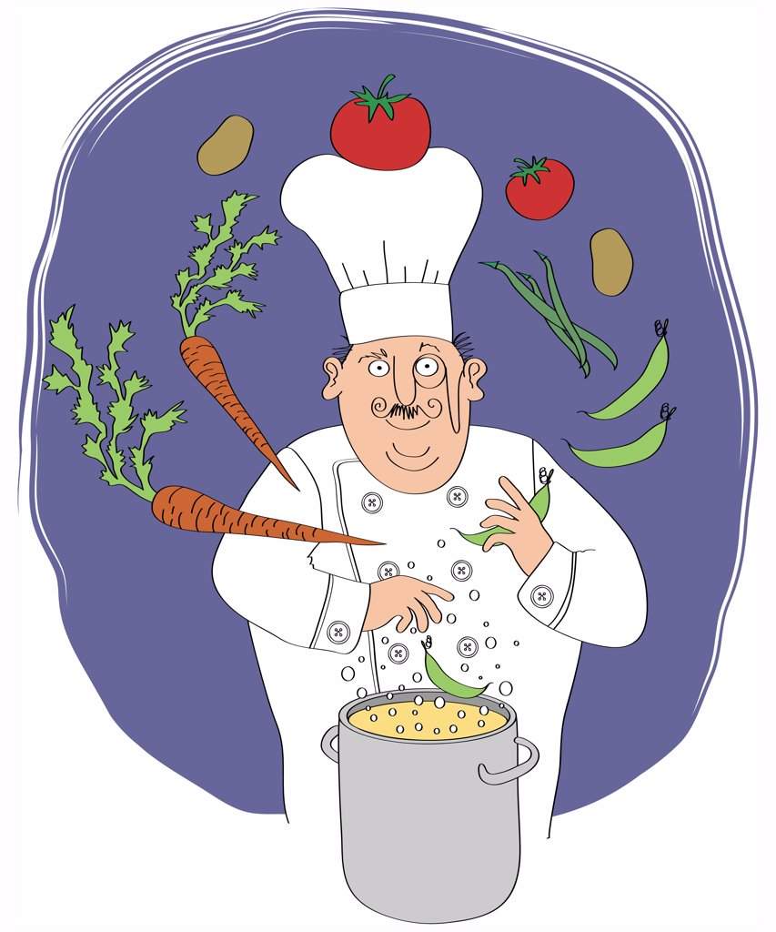 Chef juggling vegetables, pot with food in the foreground : Stock Photo