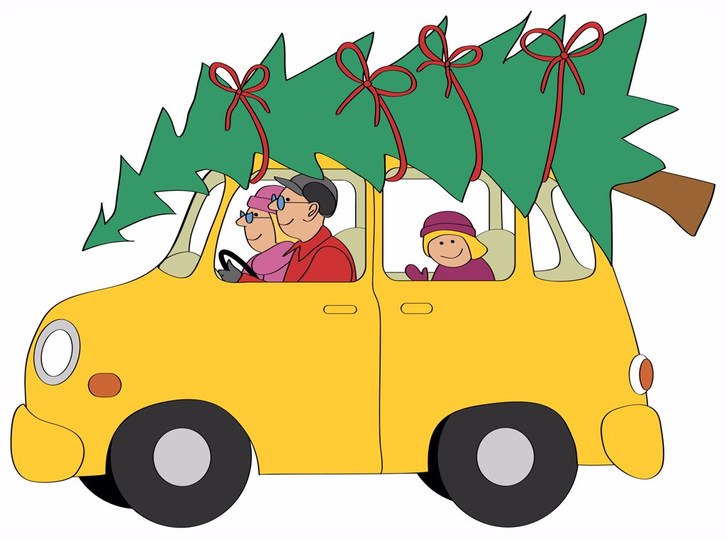 Family driving car with Christmas tree, illustration : Stock Photo