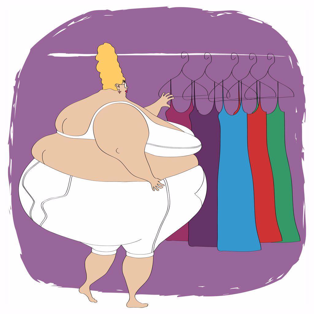 Overweight woman in underwear choosing dress : Stock Photo