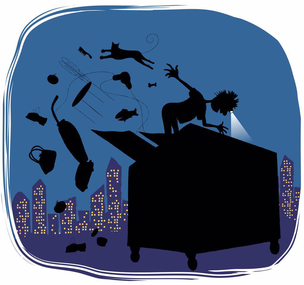 Stock Photo: 1501R-1076 Dumpstering, illustration