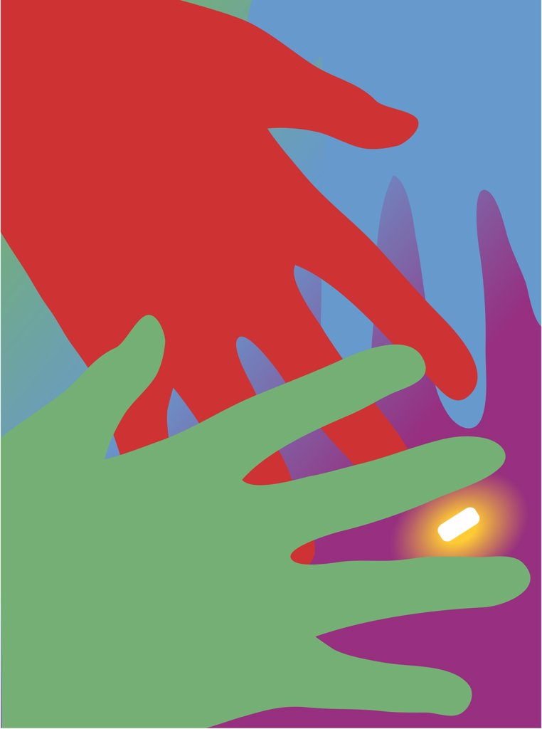 Hands reaching for glowing pill, illustration : Stock Photo