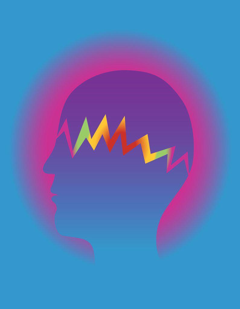 Profile of person having headache, illustration : Stock Photo