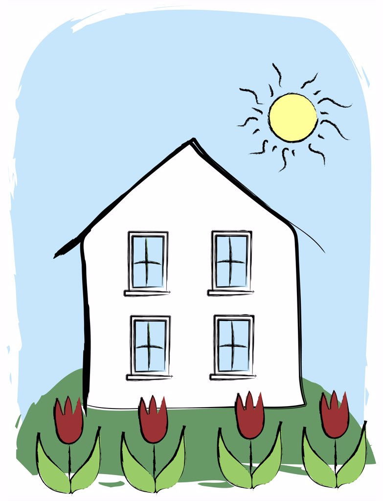 Stock Photo: 1501R-1114 House behind flowerbed, illustration
