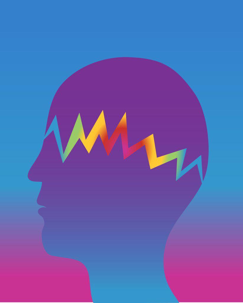 Profile of person suffering from migraine, illustration : Stock Photo