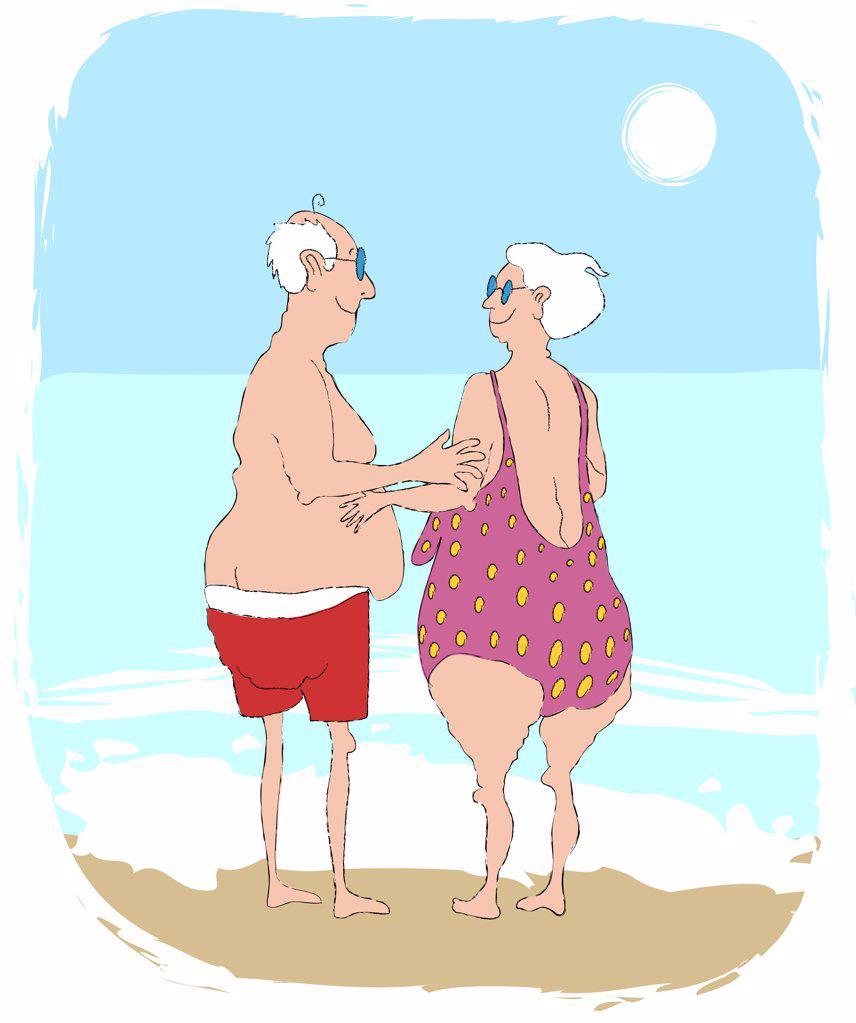 Senior couple standing at beach in swimsuit, illustration : Stock Photo