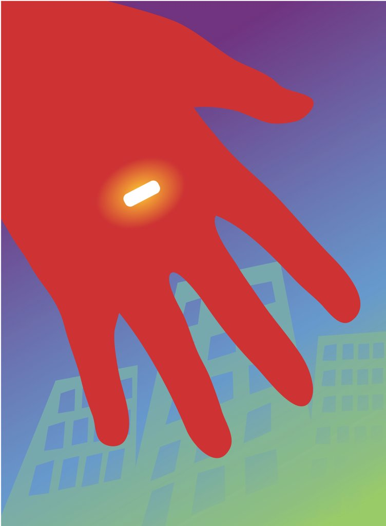 Red hand holding glowing pill, illustration : Stock Photo