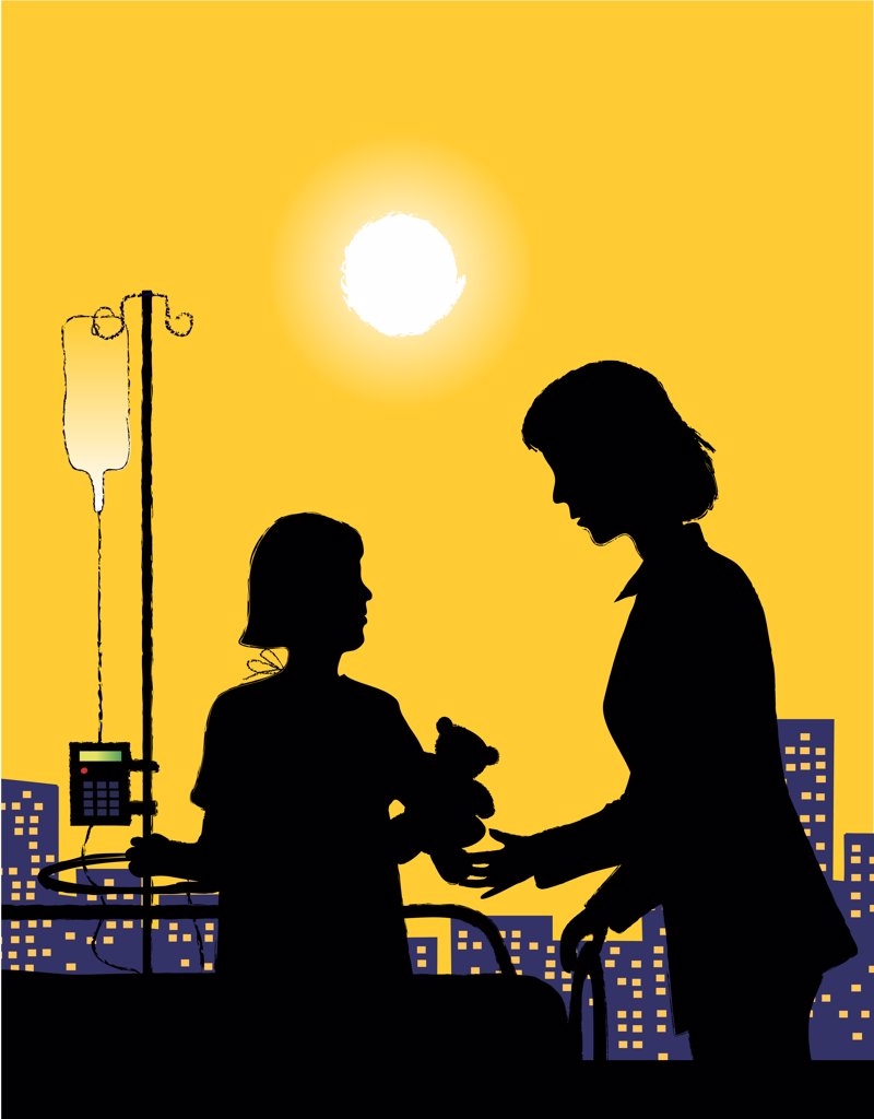 Stock Photo: 1501R-1129 Silhouette of girl and woman in hospital window, illustration