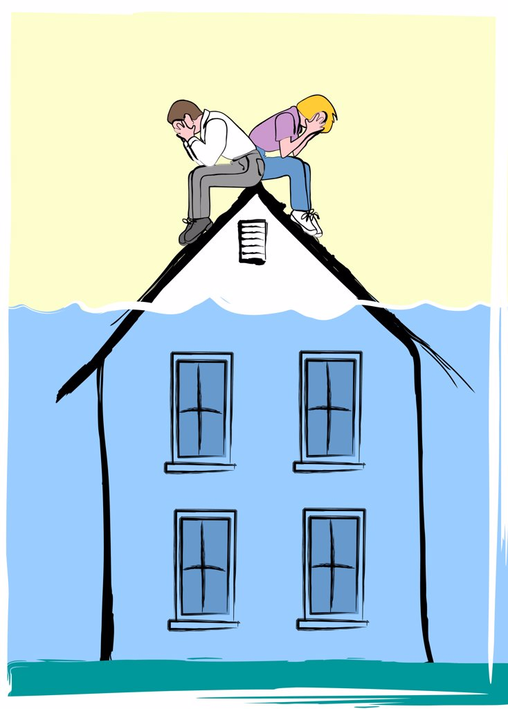 House underwater, illustration : Stock Photo