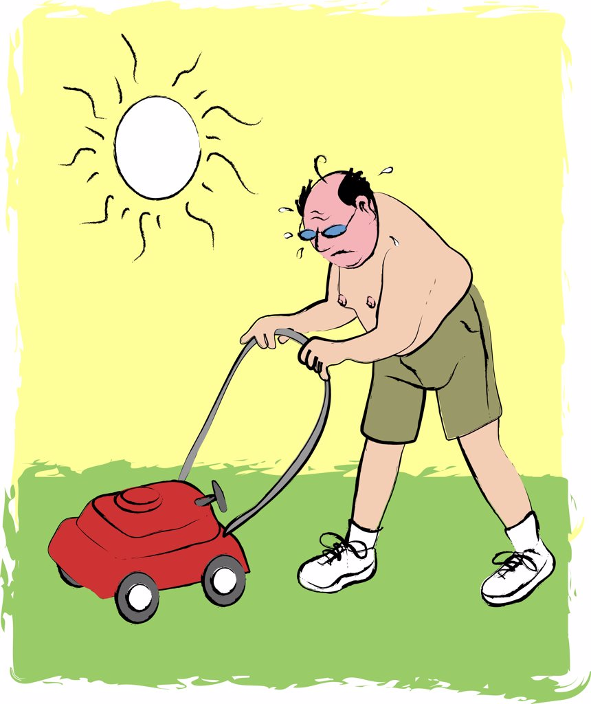 Stock Photo: 1501R-1138 Man mowing lawn, illustration