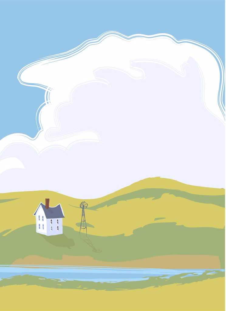Pastel colored rural scene, illustration : Stock Photo