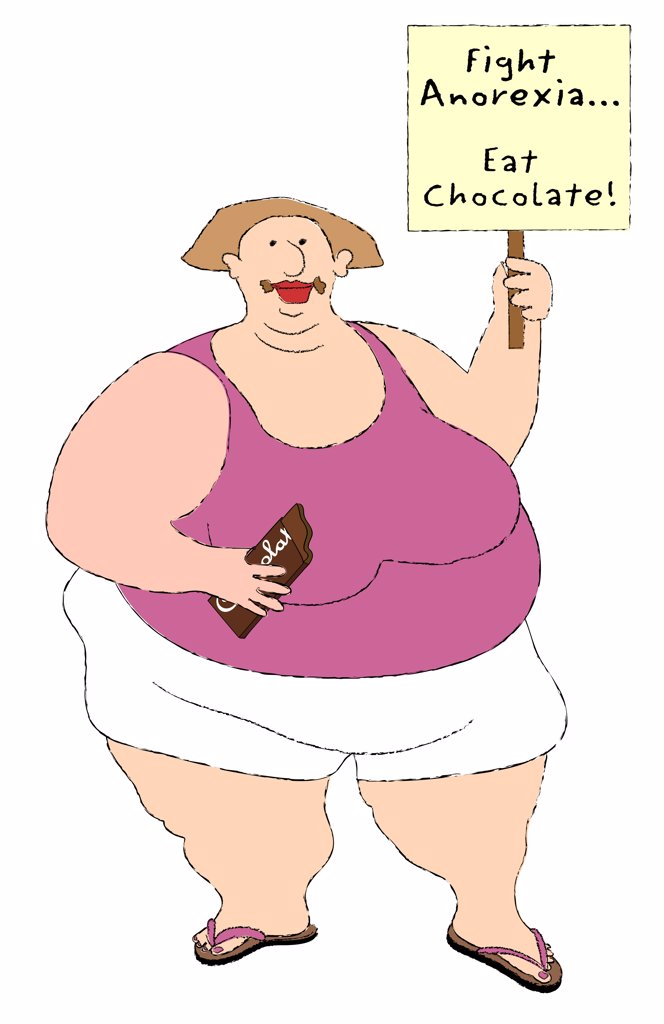 Stock Photo: 1501R-1144 Big woman eating chocolate and holding sign