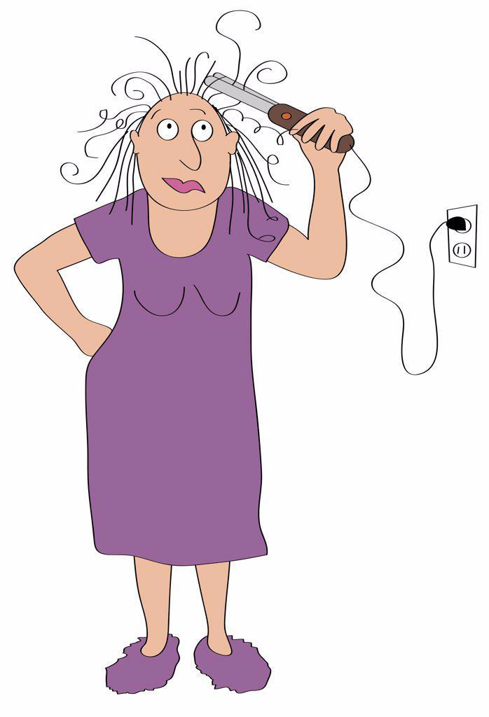 Stock Photo: 1501R-1182 Woman curling hair