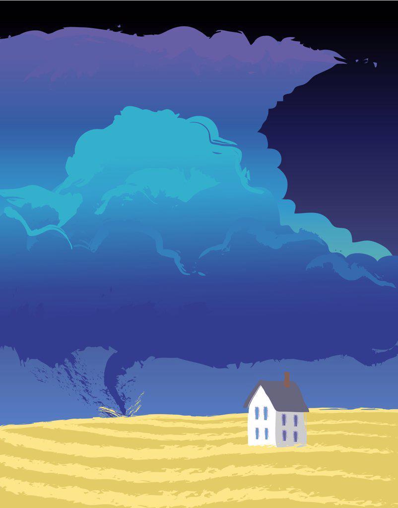 Stock Photo: 1501R-1296 Prairie Tornado, illustration