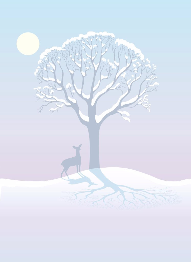 Stock Photo: 1501R-1349 Winter Deer, illustration