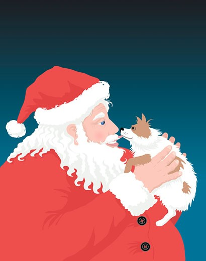 Stock Photo: 1501R-779 Dog Santa 3 Linda Braucht (b.20th C. American) Computer graphics
