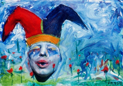 Stock Photo: 1502-101 Jester in a Poppy Field 1999 Jeremy Hauser (20th C. American) Oil on canvas, wood & plaster Private Collection