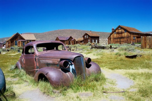 Abandoned vehicle at Bodie State Historic Park, California, USA : Stock Photo