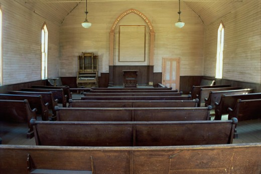 Stock Photo: 1505-119 Interiors of Methodist Church, Bodie State Historic Park, California, USA