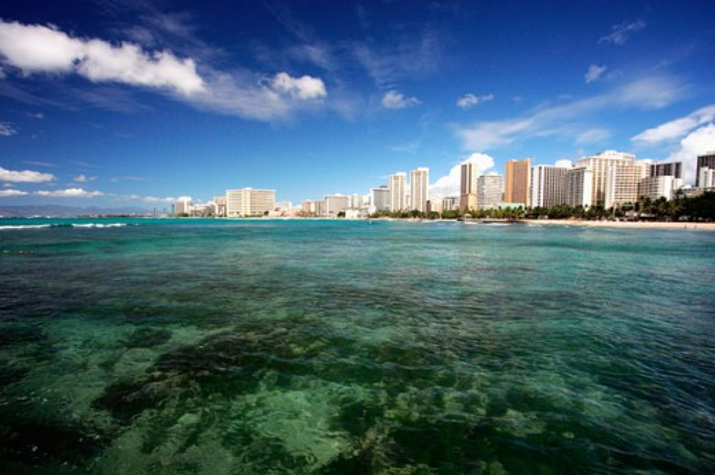Stock Photo: 1505-252 Buildings on the waterfront, Waikiki Beach, Oahu, Hawaii, USA