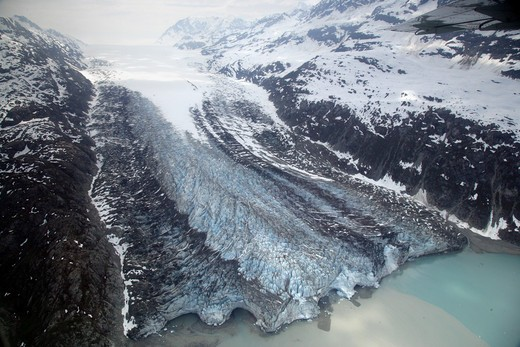 High angle view of a lake and a glacier, Glacier Bay National Park, Alaska, USA : Stock Photo