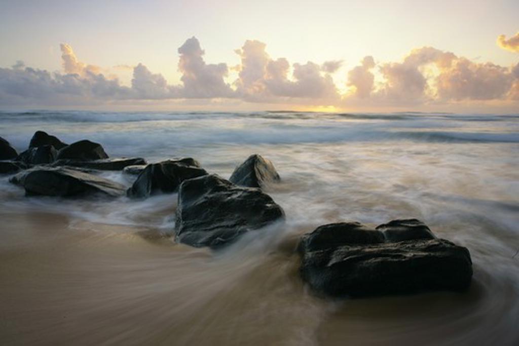 Stock Photo: 1505-314 Rocks on the beach, Lihue, Kauai, Hawaii, USA