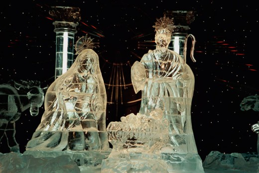 Stock Photo: 1505-W160 Close-up of ice sculptures depicting a nativity scene, Nashville, Tennessee, USA