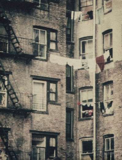 Fire escapes outside a building, New York City, New York, USA : Stock Photo