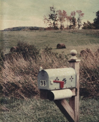 Close-up of a mailbox in a field : Stock Photo