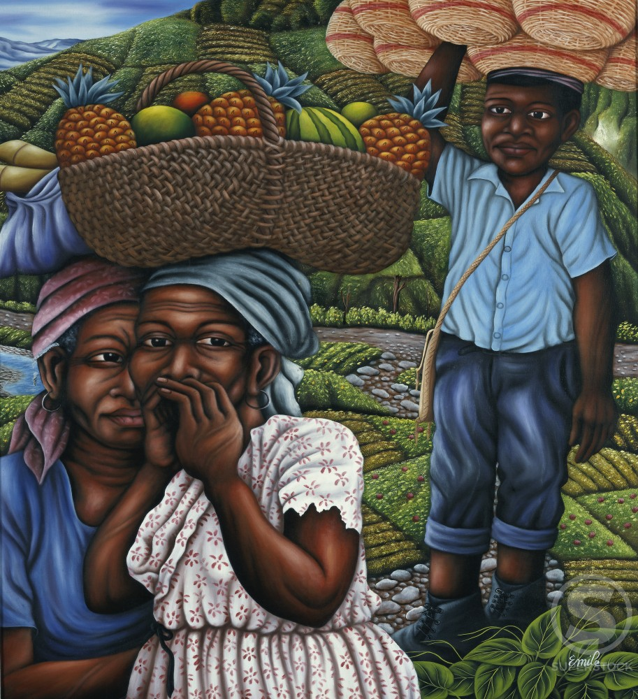 Gathering Fruit  Emile  Oil on canvas  Private Collection : Stock Photo