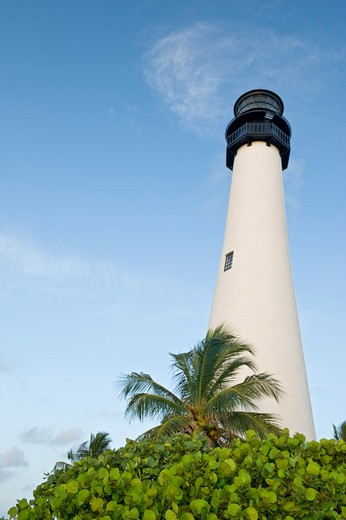 Stock Photo: 1511-327B Low angle view of a lighthouse, Cape Florida Lighthouse, Bill Baggs Park, Cape Florida, Key Biscayne, Florida, USA
