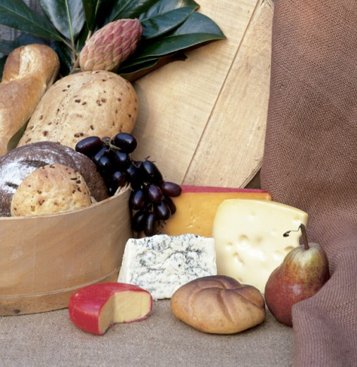 Close-up of breads and cheese : Stock Photo