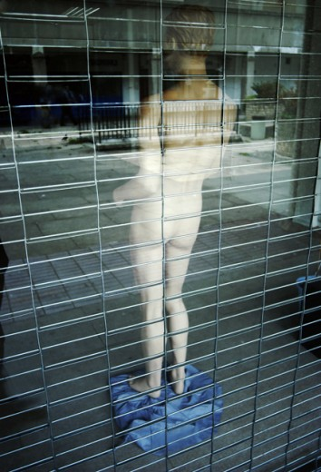 Rear view of a mannequin on display in a store : Stock Photo